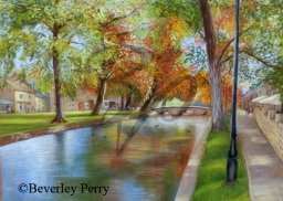 Autumn Reflections in Bourton on the Water - Pastel