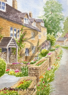 Cotswold cottages, Lower Slaughter - Watercolour