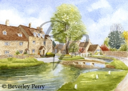 Lower Slaughter Village - Watercolour