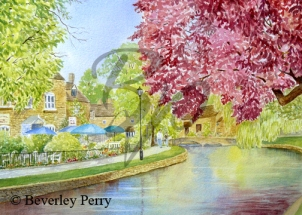 Morning Stroll in Bourton on the Water - Watercolour