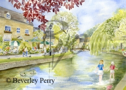 Paddling in Bourton on the Water - Watercolour