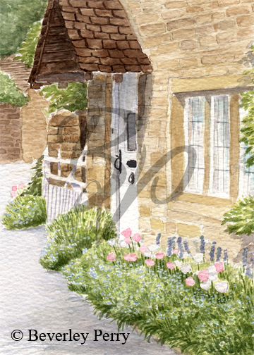 Pretty cottage in Lower Slaughter - Watercolour