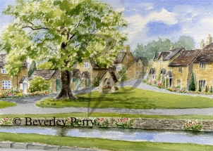 Pretty village of Lower Slaughter - Watercolour