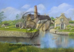 REFLECTIONS AT THE MILL,-PASTEL