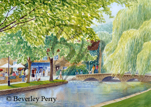Relaxing in Bourton on the Water - Watercolour