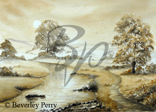 Riverside Mist - Watercolour