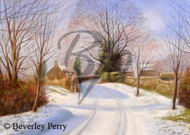 Snow in the Cotswolds - Pastel