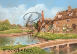 Spring at the Mill, Lower Slaughter - Pastel