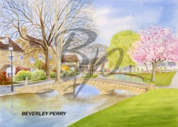 SPRINGTIME IN BOURTON ON THE WATER - WATERCOLOUR