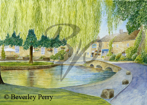 Sunshine and shadow Bourton the Water - Watercolour