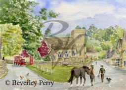 Village Meeting in Snowshill - Watercolour